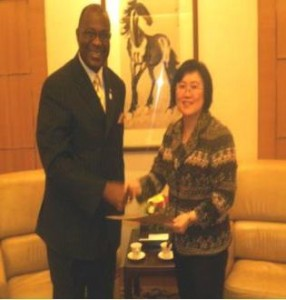 Abubakarr Multi-Kamara presenting his Letters of Credence to Ms Lin Nan, Deputy Director-General of Protocol Department of the Ministry of Foreign Affairs, China