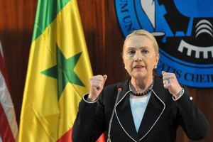 U.S. Secretary of State Hillary Clinton snipes at China's booming presence in Africa during a press conference on Aug. 1 at Senegal's Dakar University