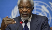 Kofi Annan speaks during a news conference at the United Nations headquarters in Geneva, Switzerland.