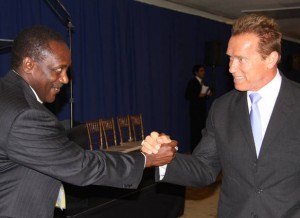 UNIDO Director General, Kandeh Yumkella and Former Gov. Arnold Schwarzenegger at the launch of the Sustainable Energy for All in New York-(Photo: by M. Evstafyev UNIDO)