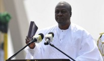 IN OFFICE: Ghanaian President John Dramani Mahama takes the oath during his inauguration ceremony in Accra on Monday
