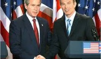 US President George Bush and British Prime Minister Tony Blair during a press conference at Hillsborough Castle in Northern Ireland.
