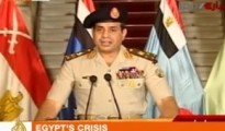 Al Jazeera television carries live the broadcast by Egypt's armed forces chief, General Abdul Fatah Khalil al-Sisi, announcing the suspension of the constitution.