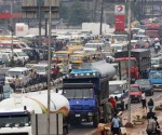 A general view of congested traffic in central Lagos, Nigeria.
