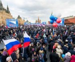 Pro-Kremlin activists gather in the Red Square in Moscow, on March 18, 2014, to celebrate the incorporation of Crimea.