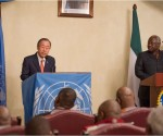 Secretary-General Ban Ki-moon left addresses a joint press conference with President Ernest Bai Koroma of Sierra Leone