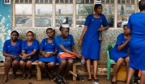 Nursing students in Freetown, Sierra Leone, wait to take their final qualifying exams so they can join the fight against Ebola.
