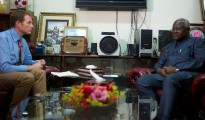 ITV News Correspondent Dan Rivers speaks to Sierra Leone President Ernest Bai Koroma. Credit: ITV News/Dan Rivers