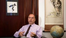 Dr. Peter Piot, the co-discoverer of the Ebola virus, speaks during an interview with The Associated Press at his office at the London School of Hygiene and Tropical Medicine in London, Friday, Oct. 17, 2014. Piot questioned
