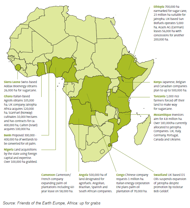 Land grab for agrofuels across Africa