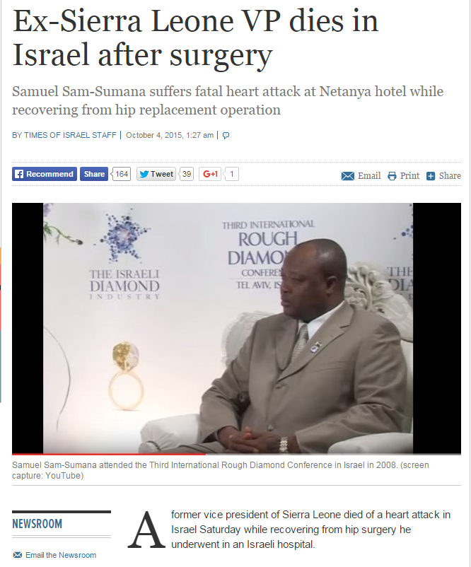 Sam Sumana Is Not Dead As Reported Below By An Israeli News Paper Online