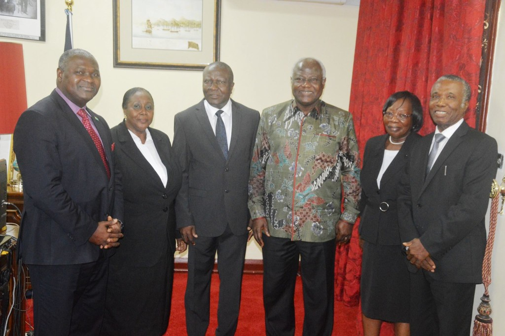 From LEFT:-The Attorney General and Minister of Justice Mr. Joseph Fitzgerald Kamara, Chief Justice Mr. Abdulai Hamid Charm ,Justice Finda Nyawo Matturi-Jones, President Koroma and Justice Adeliza Showers